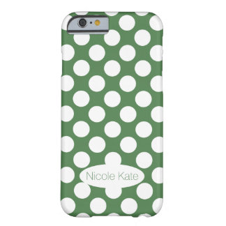 Retro Mint Green Polka Dots Monogram Barely There iPhone 6 Case