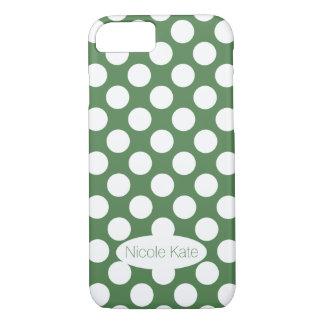 Retro Mint Green Polka Dots Monogram iPhone 8/7 Case