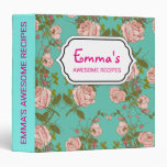 Retro Minty Pastel rose vintage vines pattern 3 Ring Binder