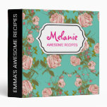 Retro Minty Pastel rose vintage vines pattern Binder
