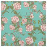 Retro Minty Pastel rose vintage vines pattern Fabric