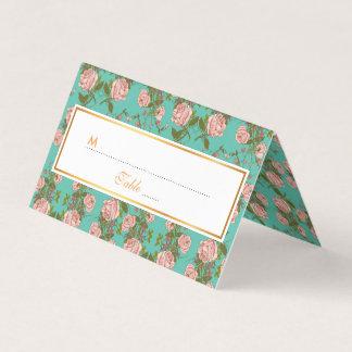 Retro Minty Pastel rose vintage vines pattern Place Card