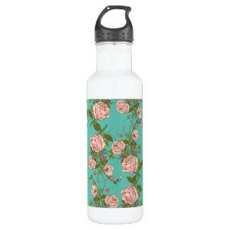 Retro Minty Pastel rose vintage vines pattern Stainless Steel Water Bottle