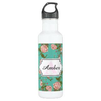 Retro Minty Pastel rose vintage vines pattern Water Bottle