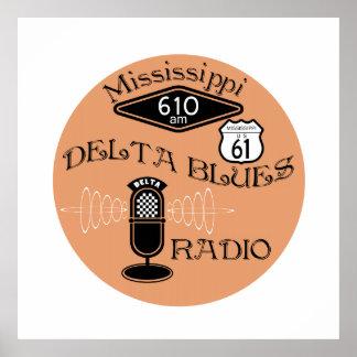Retro Mississippi Blues Radio Print