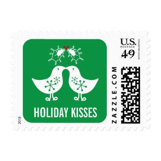 Retro Mistletoe Cute Kissing Chicks Holiday Stamps
