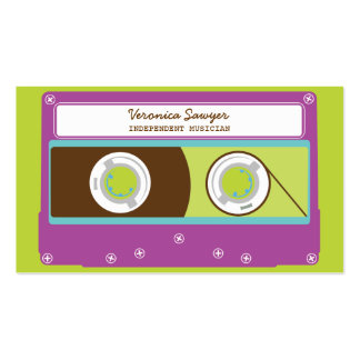 Retro Mixtape (Purple / Lime) Musician's Biz Card Double-Sided Standard Business Cards (Pack Of 100)