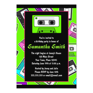 Retro Mixtape Themed Birthday Party Invitation