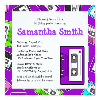 Retro Mixtape Themed Birthday Party Invite Purple