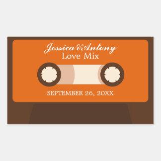 Retro Mixtape Wedding Favor Rectangular Sticker