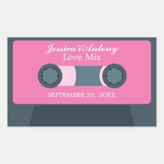 Retro Mixtape Wedding Favor Rectangle Stickers