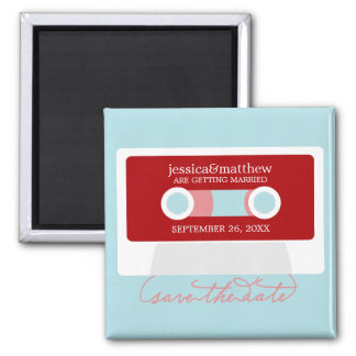 Retro Mixtape Wedding Save the Date Magnet