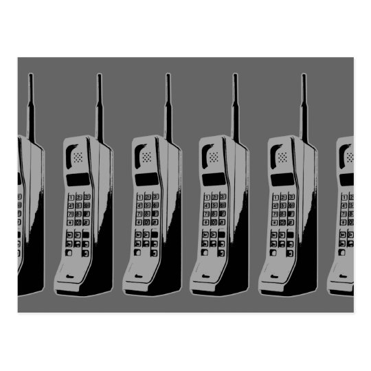 Retro Mobile Phone Graphic Postcard