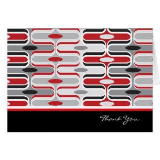 Retro Mod Art Deco Zig Zag Funky Pattern Red Black Card