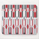 Retro Mod Art Deco Zig Zag Funky Pattern Red Black Mouse Pad