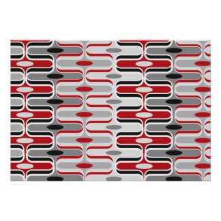 Retro Mod Art Deco Zig Zag Funky Pattern Red Black Print