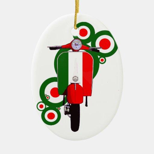 Retro Mod  Art Italian Scooter Double-Sided Oval Ceramic Christmas Ornament