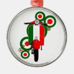 Retro Mod  Art Italian Scooter Round Metal Christmas Ornament
