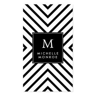 Retro Mod Black and White Pattern Bold Monogram Business Cards
