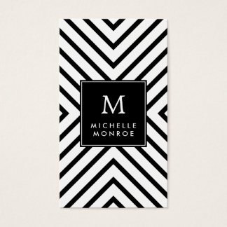 Retro Mod Black and White Pattern Bold Monogram Business Card