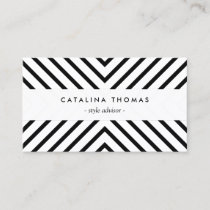 Retro Mod Black and White Pattern Business Card