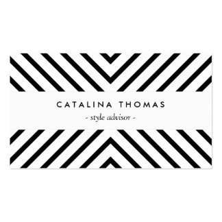 Retro Mod Black and White Pattern Business Cards