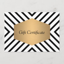 Retro Mod Black and White Pattern Gift Certificate