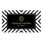 Retro Mod Black and White Pattern Gold Clover Logo Business Card