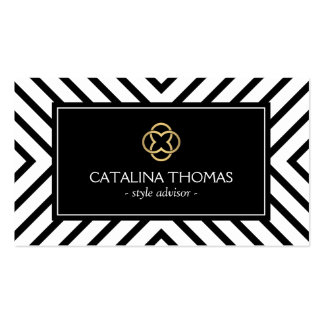 Retro Mod Black and White Pattern Gold Clover Logo Double-Sided Standard Business Cards (Pack Of 100)