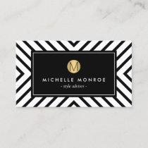 Retro Mod Black and White Pattern Gold Monogram Business Card