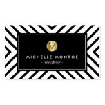 Retro Mod Black and White Pattern Gold Monogram Business Card Template