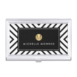 Retro Mod Black and White Pattern Gold Monogram Business Card Holder