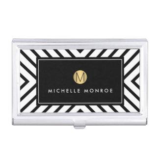 Retro Mod Black and White Pattern Gold Monogram Business Card Holder