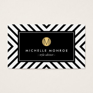 Retro Mod Black and White Pattern Gold Monogram II Business Card