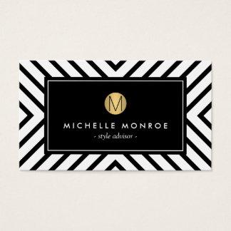 Retro Mod Black and White Pattern Gold Monogram II Business Card