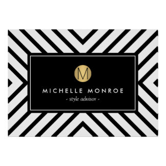 Retro Mod Black and White Pattern Gold Monogram Poster