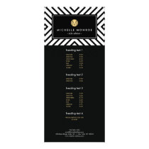 Retro Mod Black and White Pattern Gold Monogram Rack Card