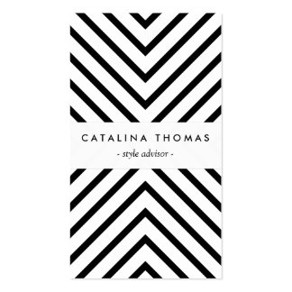 Retro Mod Black and White Pattern Vertical Business Card