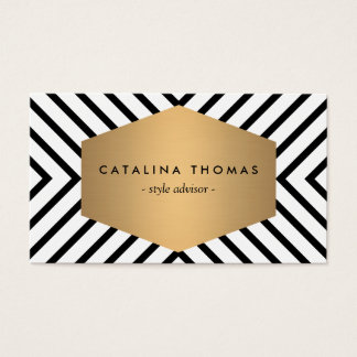 Retro Mod Black and White Pattern with Gold Emblem Business Card