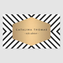 Retro Mod Black and White Pattern with Gold Emblem Rectangular Sticker
