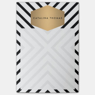 Retro Mod Black and White Pattern with Gold Emblem Post-it® Notes
