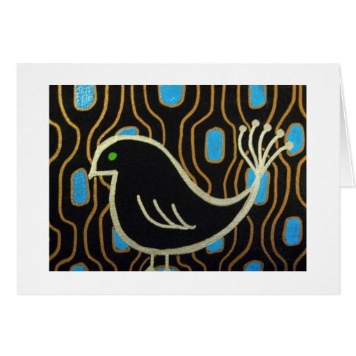 Retro Mod Black Bird Card
