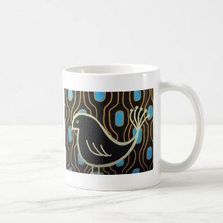Retro Mod Black Bird Classic White Coffee Mug