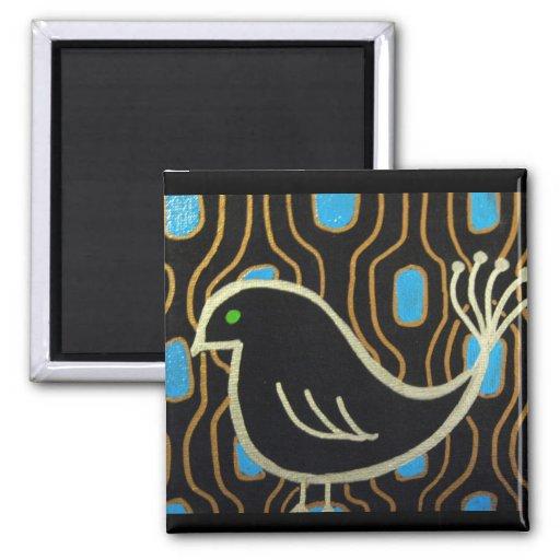 Retro Mod Black Bird Magnets