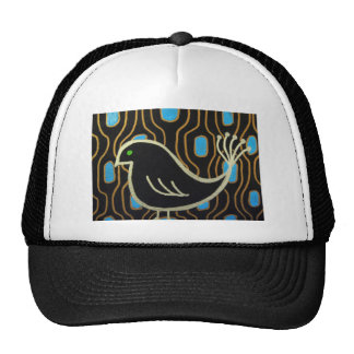 Retro Mod Black Bird Trucker Hat
