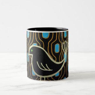 Retro Mod Black Bird Two-Tone Coffee Mug