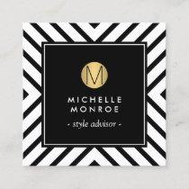 Retro Mod Black/White Pattern Gold Circle Monogram Square Business Card