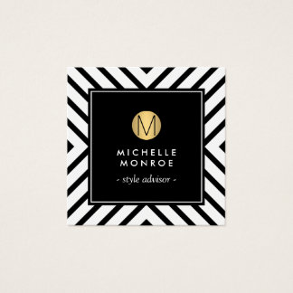 Retro Mod Black/White Pattern Gold Circle Monogram Square Business Card