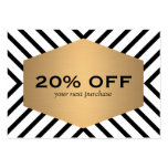 Retro Mod Black White Pattern Gold Emblem Coupon Large Business Cards (Pack Of 100)