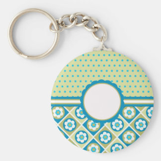 Retro Mod Blue, Green and Purple Flowers, add text Keychains